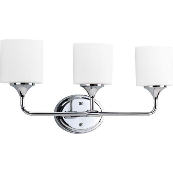 Lynzie Collection 3-Light Chrome Bathroom Vanity Light with Glass Shades