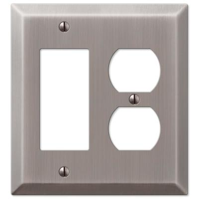 Metallic 2 Gang 1-Duplex and 1-Rocker Steel Wall Plate - Antique Nickel