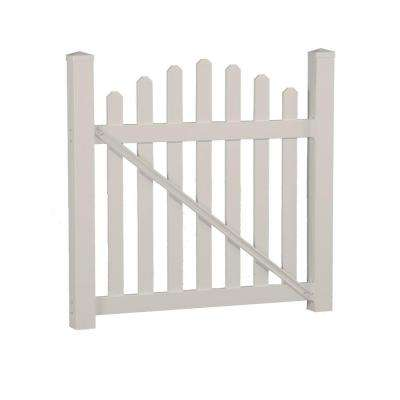 Sanibel 4.4 ft. W x 4 ft. H Tan Vinyl Picket Fence Gate