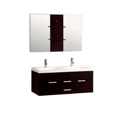Duma 48 in. Double Bath Vanity in Espresso with Ceramic Vanity Top in White with White Basin and Mirror
