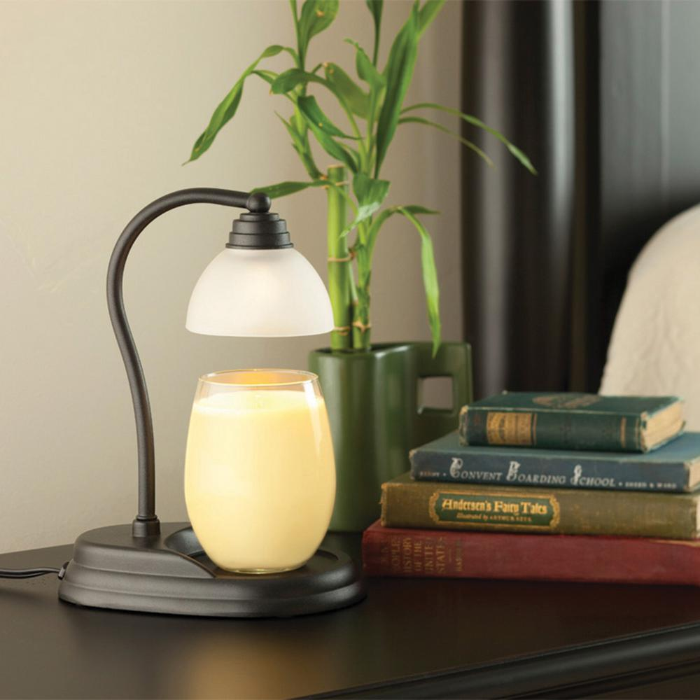 11 in. Black Aurora Candle Warmer Lamp
