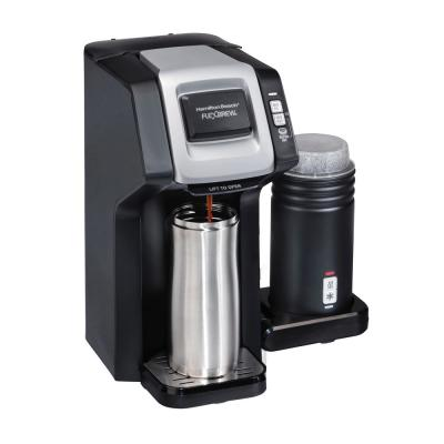 Flexbrew 1-Cup Black Single Serve Coffee Maker with Milk Frother