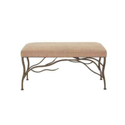 New Traditional Beige and Black Twig Bench
