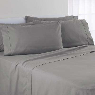 6-Piece Solid Color Wild Dove Polyester Full Sheet Set