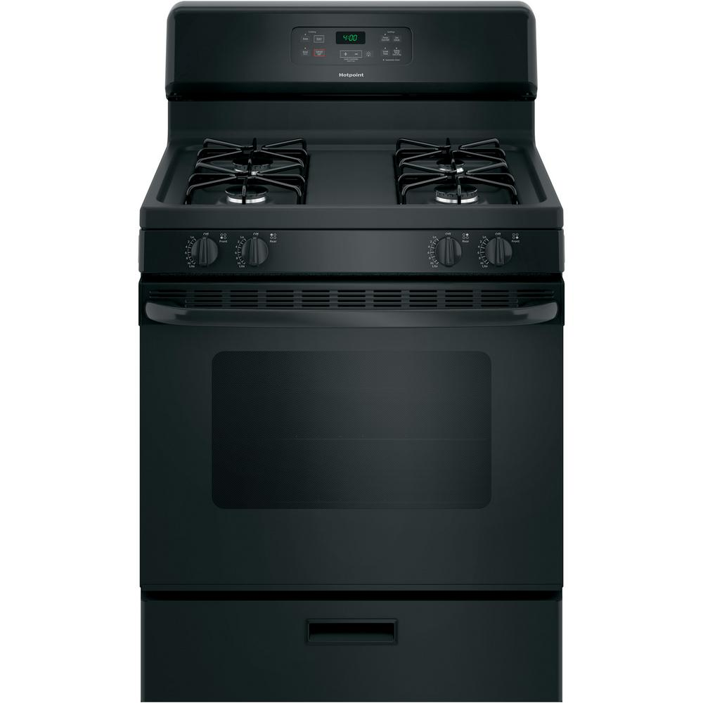 Hotpoint 30 in. 4.8 cu. ft. Gas Range Oven in Black GE appliances provide up-to-date technology and exceptional quality to simplify the way you live. With a timeless appearance, this family of appliances is ideal for your family. And, coming from one of the most trusted names in America, you know that this entire selection of appliances is as advanced as it is practical. Color: Black.