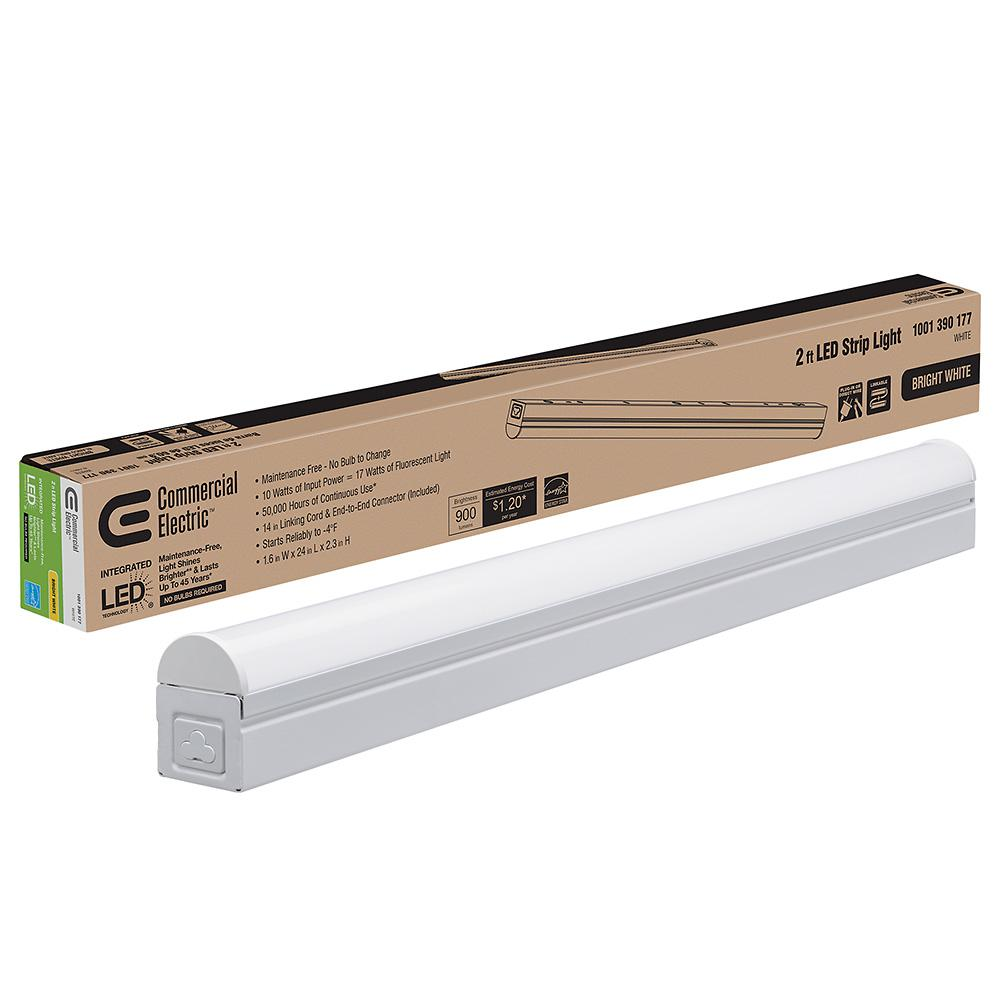 Commercial Electric Plug In or Direct Wire Power Connection 2 ft. White 4000K Integrated LED Strip Light (with power cord and linking cord)