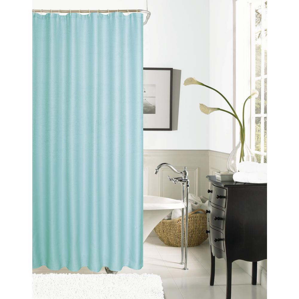 Dainty Home Hotel Collection Waffle 72 In Mint Shower Curtain HCOWSCMI