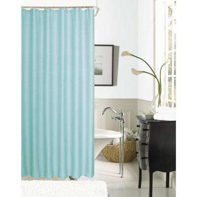 Hotel Collection Waffle 72 in. Mint Shower Curtain