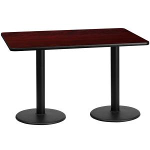 30 In X 60 Rectangular Black And Mahogany Laminate Table Top With 18 Round Height Bases