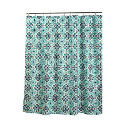 Oxford Weave Textured 70 in. W x 72 in. L Shower Curtain with Metal Roller Rings in Olive Aqua