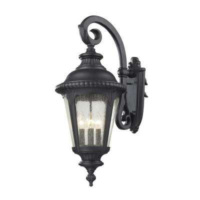 Lawrence 4-Light Black Incandescent Outdoor Wall Light