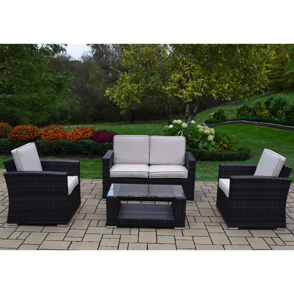 Borneo Black 4-Piece Wicker Patio Deep Seating Set with Oatmeal Cushions
