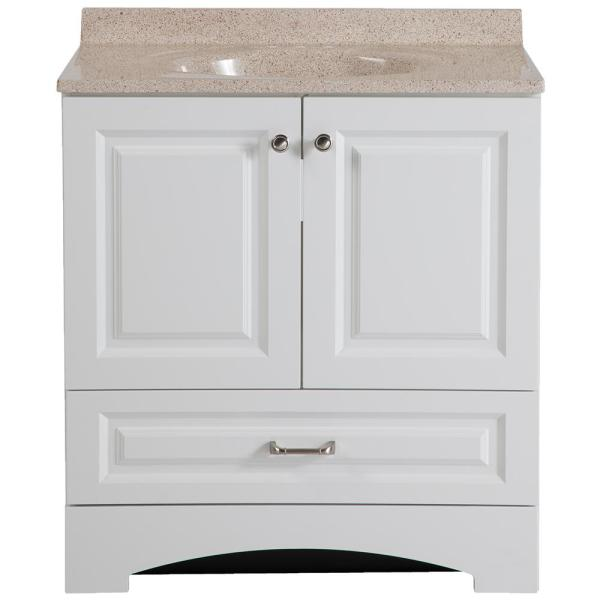 Lancaster 30 in. W Bath Vanity in White with Colorpoint Vanity Top in Maui