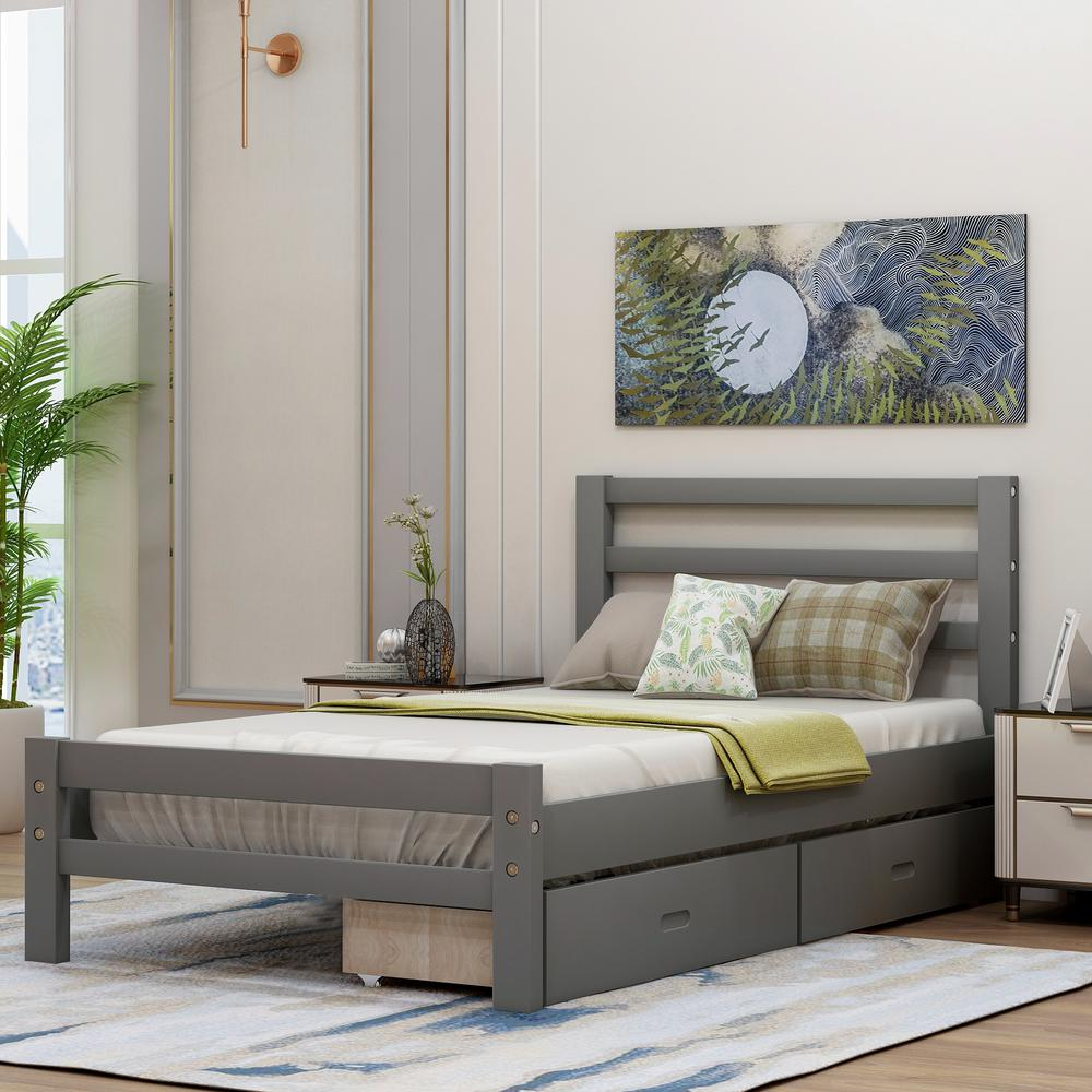 Harper & Bright Designs Gray Twin Wood Platform Bed with 2-Drawers was $314.99 now $243.75 (23.0% off)