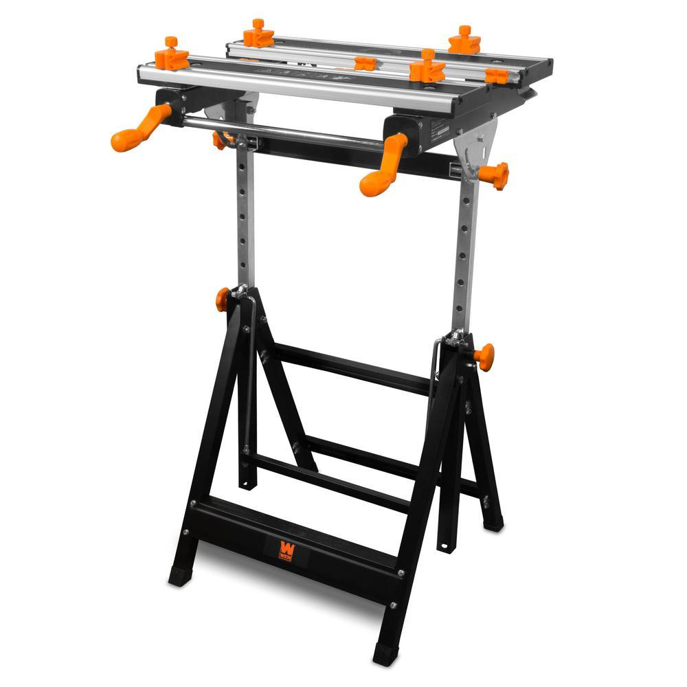 H Height-Adjustable Tilting Steel Portable 8-Sliding WEN Workbench// Vise 2 ft