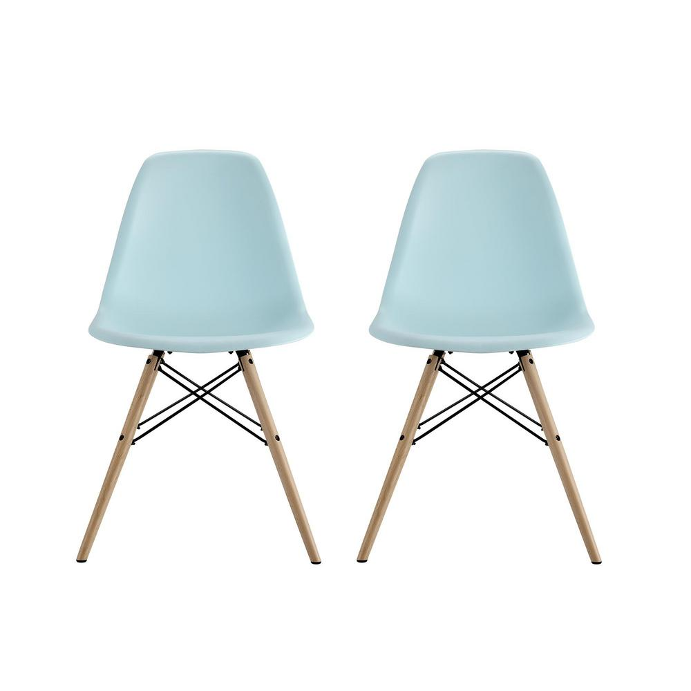 Dhp Moorea Blue Mid Century Modern Molded Chair With Wood