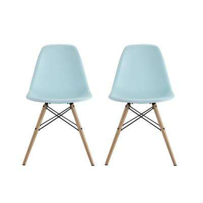 Moorea Blue Mid Century Modern Molded Chair with Wood Leg (Set of 2)