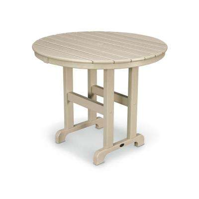 La Casa Cafe 36 in. Sand Round Plastic Outdoor Patio Dining Table