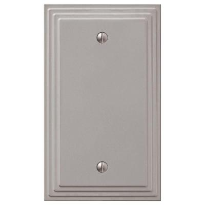 Tiered 1 Gang Blank Metal Wall Plate - Satin Nickel