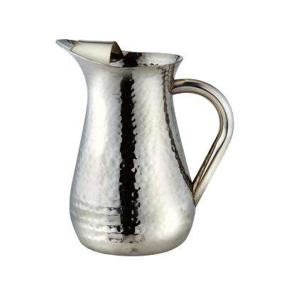 48 oz. Hammered Stainless Steel Water Pitcher with Ice Guard