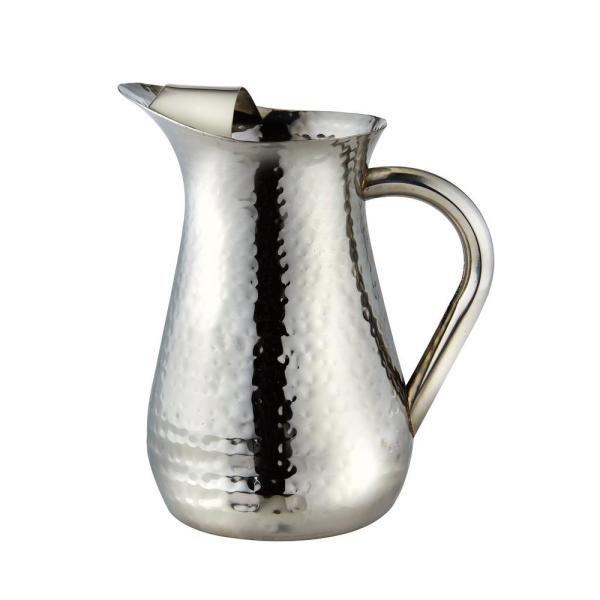 Elegance 48 Oz Hammered Stainless Steel Water Pitcher With Ice