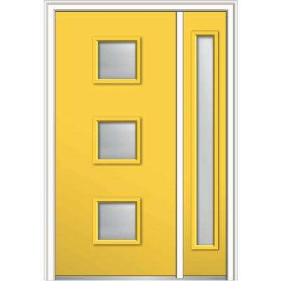 48 in. x 80 in. Aveline Low-E Glass Right-Hand 3-Lite Midcentury Painted Steel Prehung Front Door with Sidelite