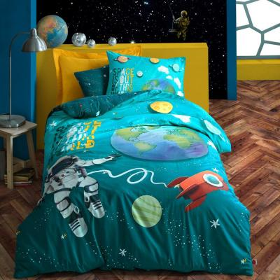 Cosmos İn Sky Duvet Cover Set : Turquoise, Twin Size Duvet Cover, 1-Duvet Cover, 1-Fitted Sheet and 2-Pillowcases