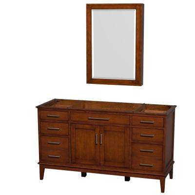 Hatton 59 in. Vanity Cabinet with Mirror Medicine Cabinet in Light Chestnut