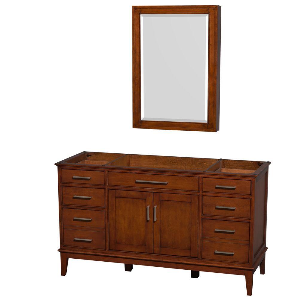 Hatton 59 in. Vanity Cabinet with Mirror Medicine Cabinet in Light Chestnut
