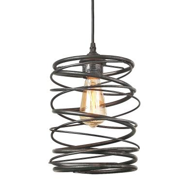 Lavie 1-Light Mottled Black Contemporary Spiral Modern Farmhouse Pendant with Iron Lantern