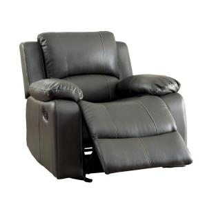 Excellent Furniture Of America Tori Gray Bonded Leather Match Recliner Bralicious Painted Fabric Chair Ideas Braliciousco