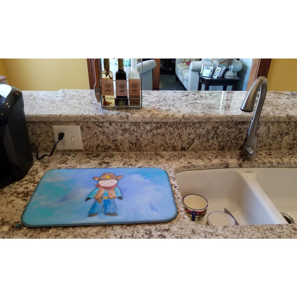 14 in. x 21 in. Cowboy Watercolor Dish Drying Mat
