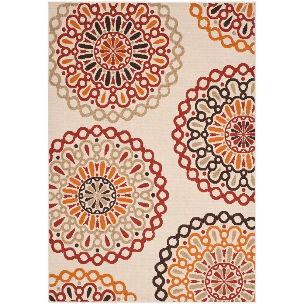 Safavieh Veranda Creme/Red 4 ft. x 5 ft. 7 in. Indoor/Outdoor Area Rug