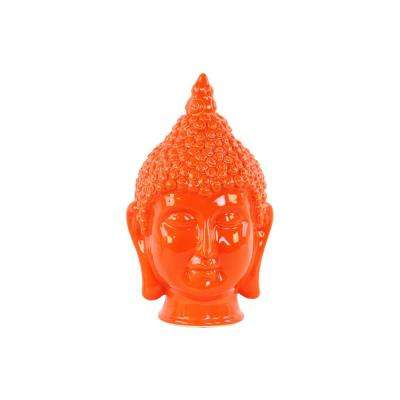 13.5 in. H Buddha Decorative Sculpture in Orange Gloss Finish