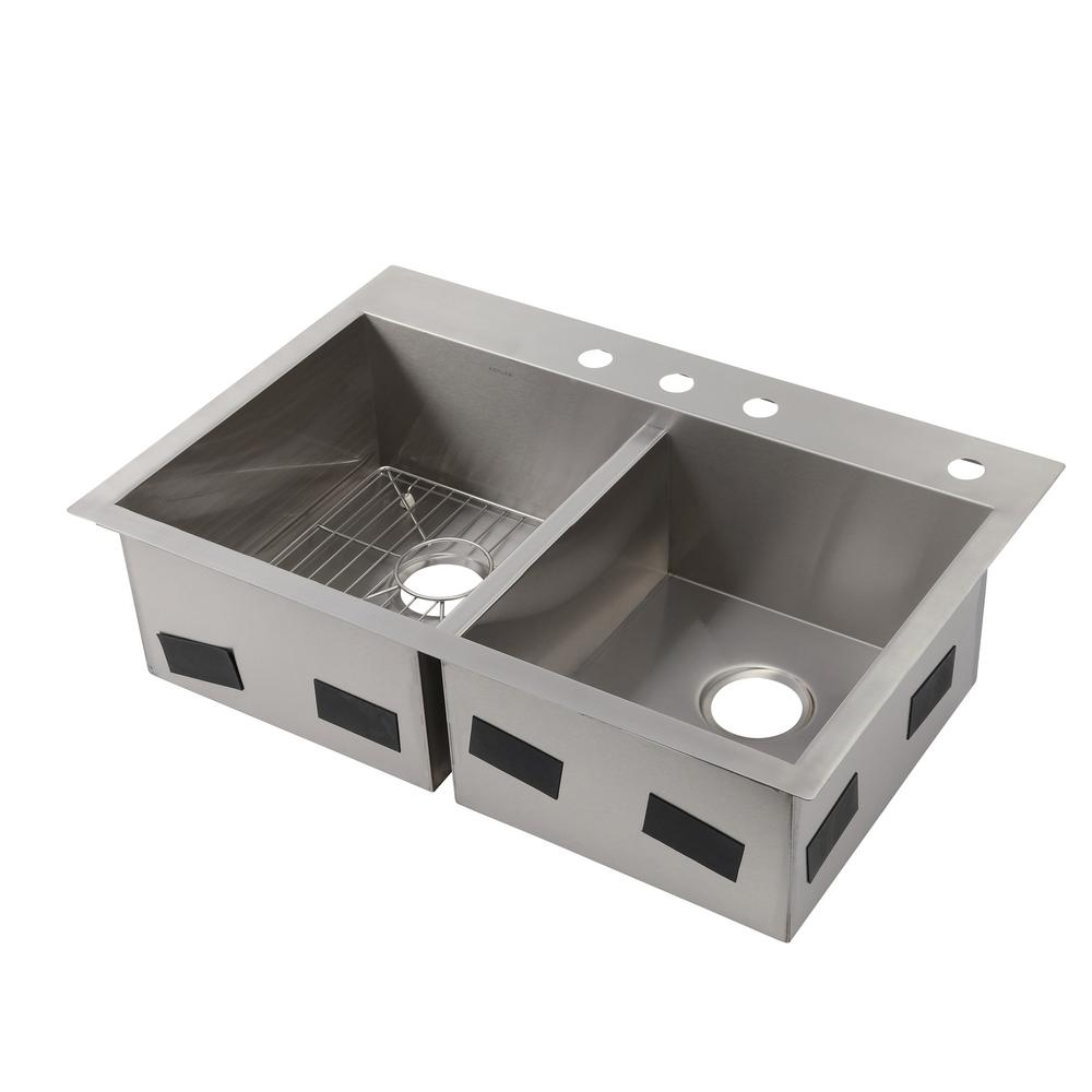Vault Drop-In/Dualmount Stainless Steel 33 in. 4-Hole Double Bowl Kitchen Sink