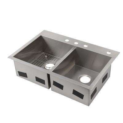 Vault Drop-In/Undermount Stainless Steel 33 in. 4-Hole Double Bowl Kitchen Sink