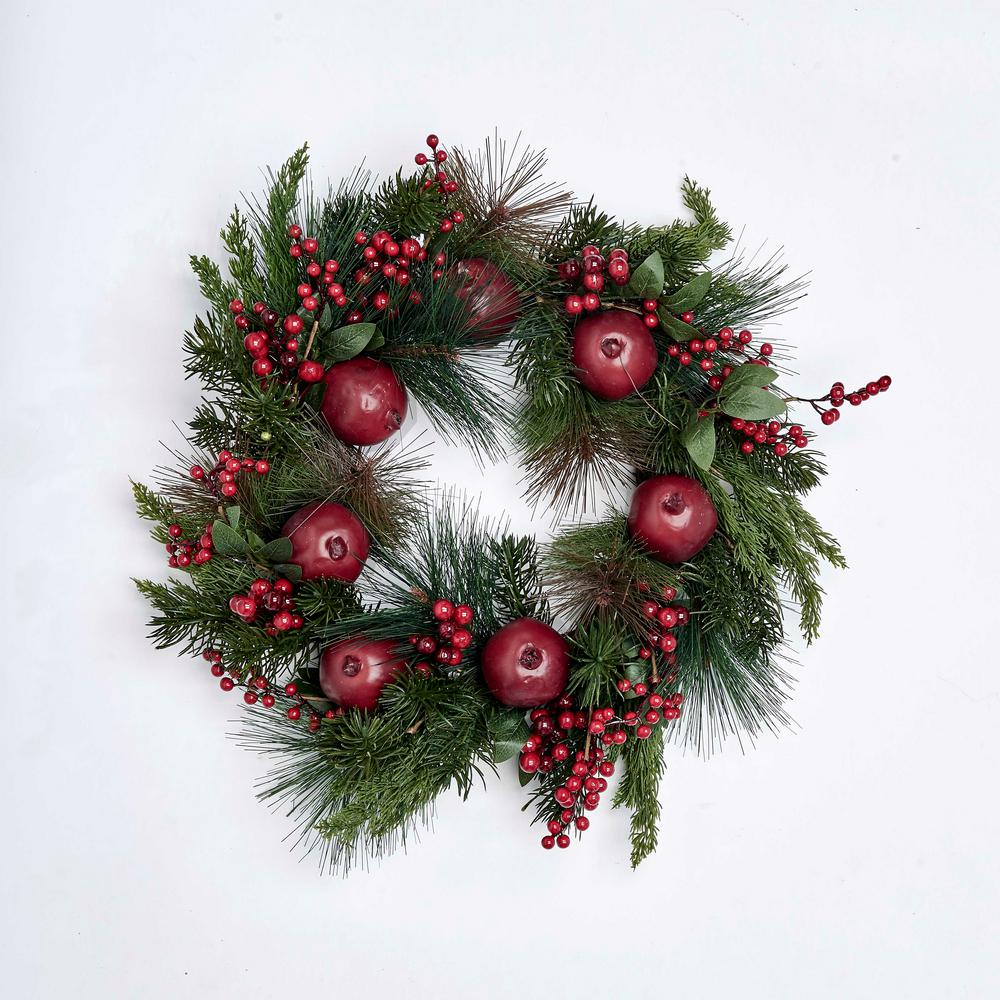 Pomegranate and Berry Wreath on Natural Twig Base-7262 - The Home Depot