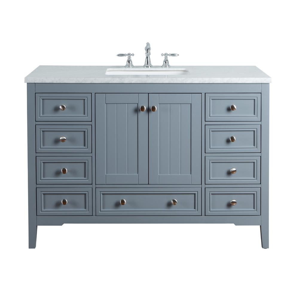 Stufurhome New Yorker 48 In. Grey Single Sink Bathroom Vanity With Marble  Vanity Top And