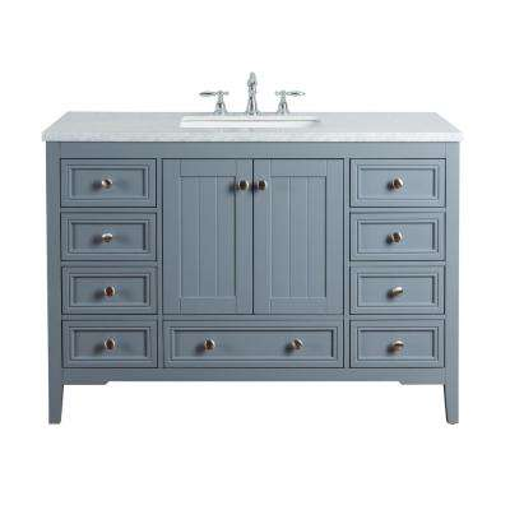 New Yorker 48 in. Grey Single Sink Bathroom Vanity with Marble Vanity Top and White Basin