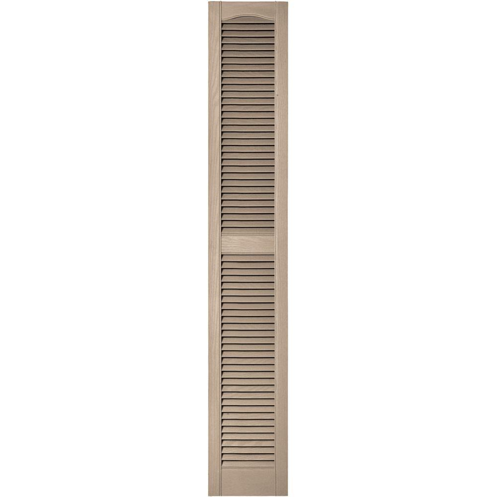 Builders Edge 12 in. x 72 in. Louvered Vinyl Exterior Shutters Pair in #023 Wicker