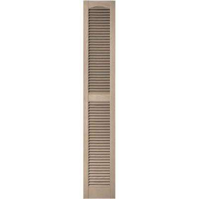12 in. x 72 in. Louvered Vinyl Exterior Shutters Pair in #023 Wicker