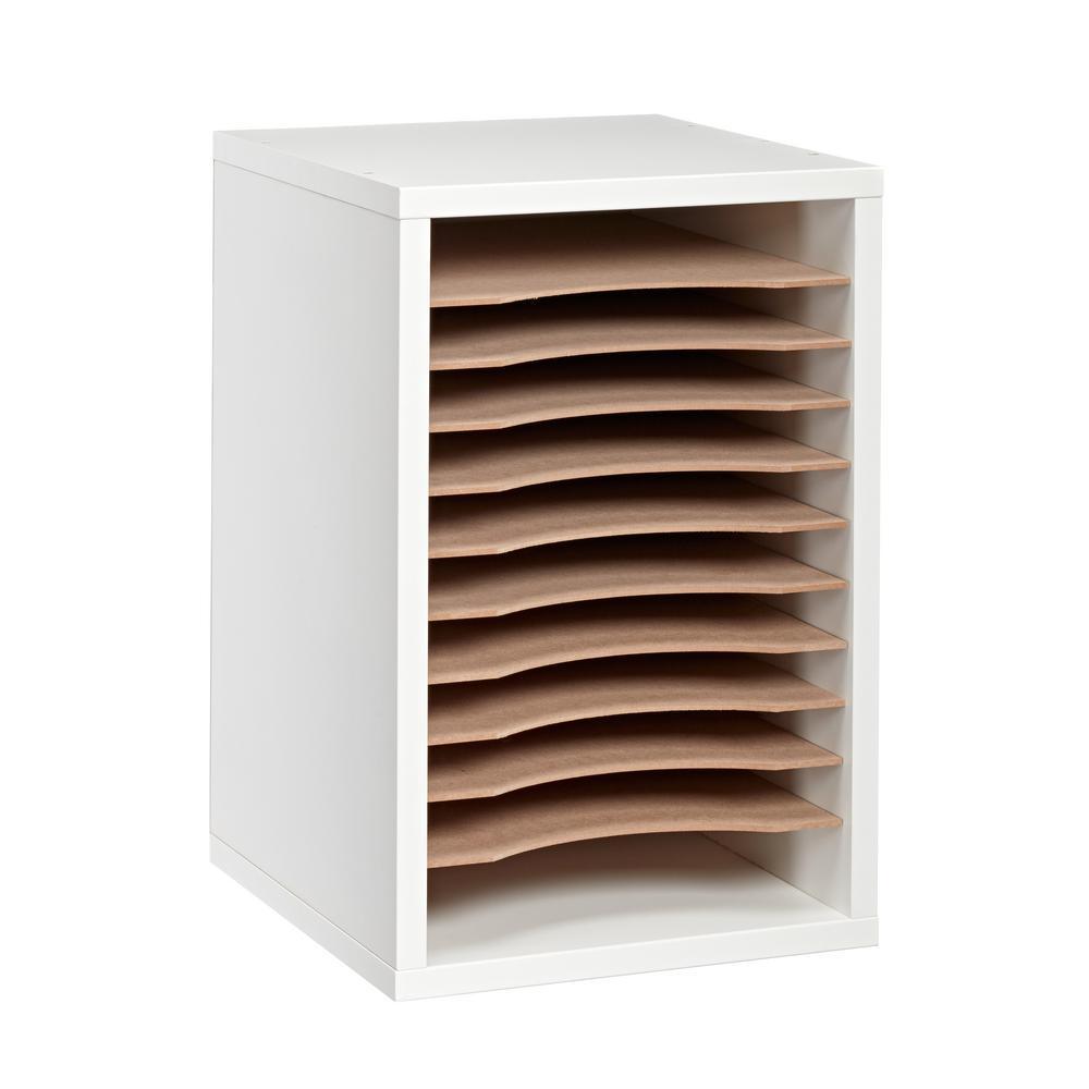 Wood 11 Compartment Vertical Paper Sorter Literature File Organizer, White