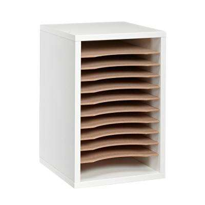Wood 11 Compartment Vertical Paper Sorter Literature File Organizer, White