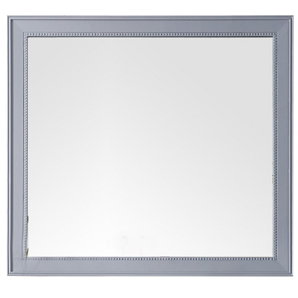Bristol 44 in. Single Framed Wall Mirror in Silver Gray