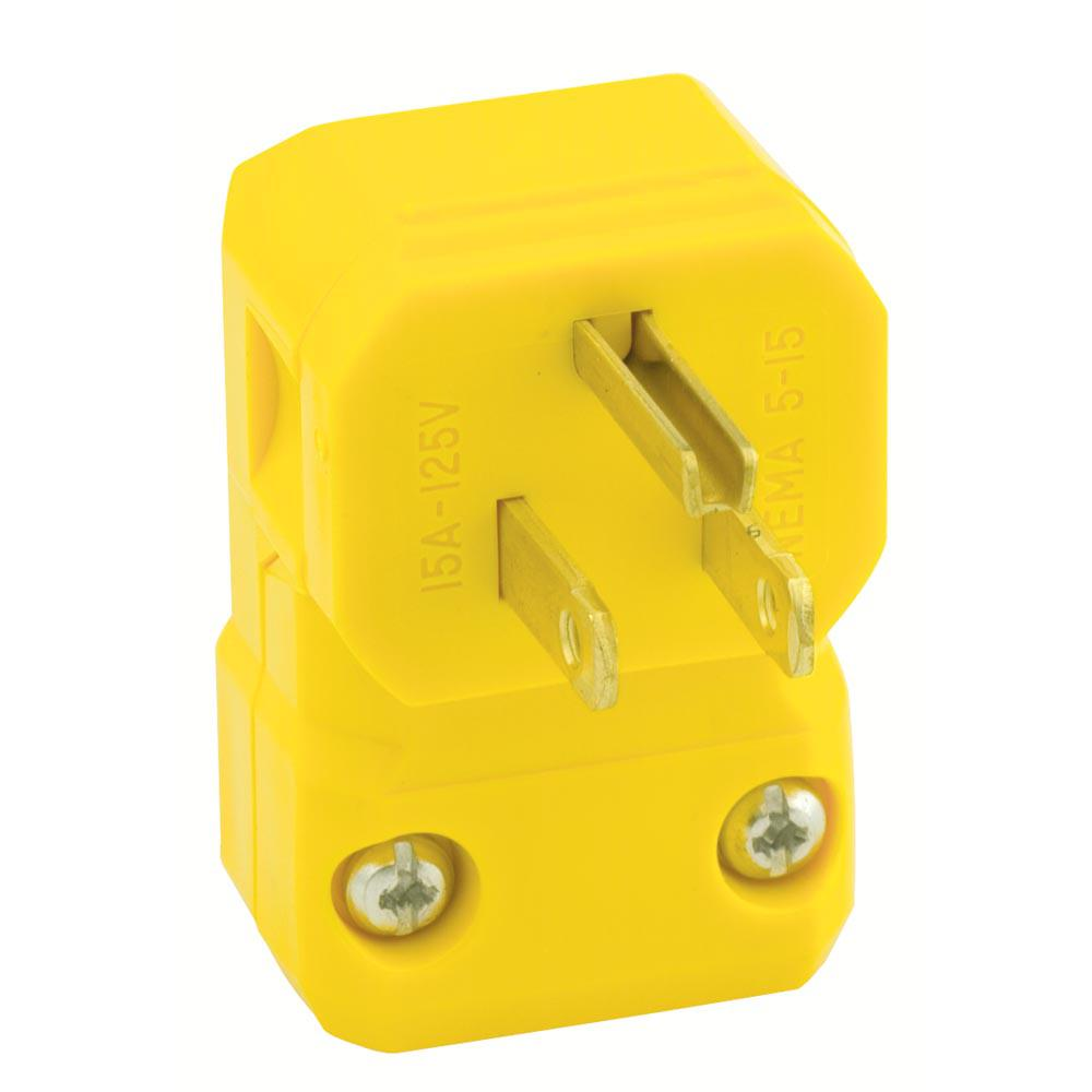 Leviton Yellow Electrical Plugs Connectors Wiring Devices Gfci Instructions 15 Amp 125 Volt Python Straight Blade Grounding Angle Plug