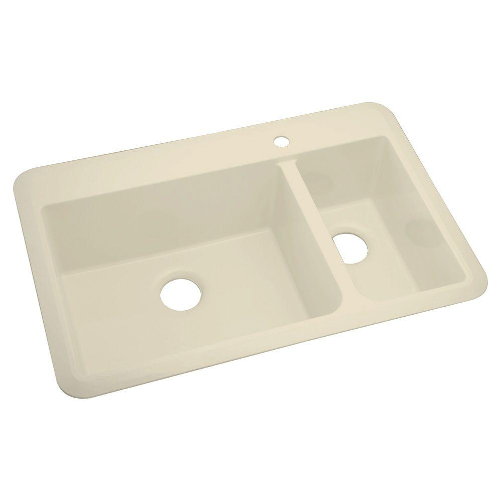 null Slope Dual Mount Vikrell 33x22x9 1-Hole Double Bowl Offset Sink in Almond