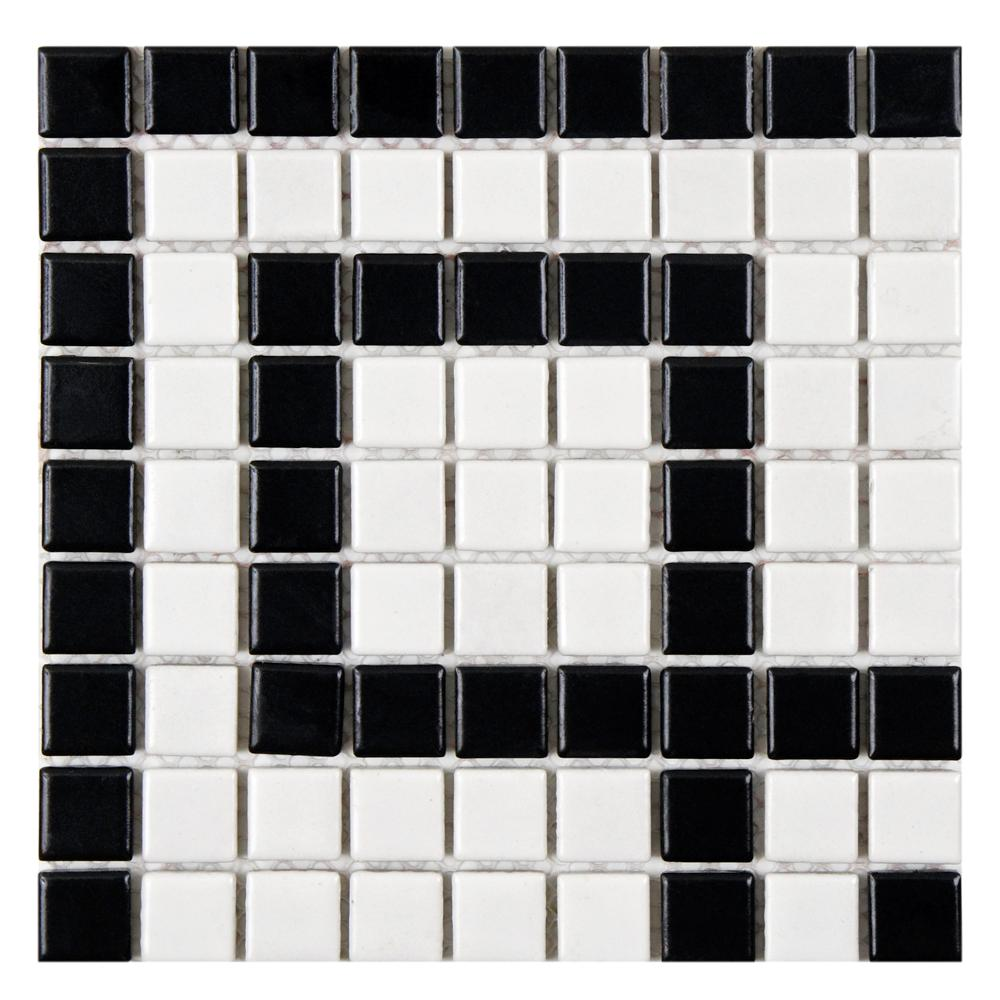Merola Tile Metro Greek Key Matte White And Black Corner 8 In X