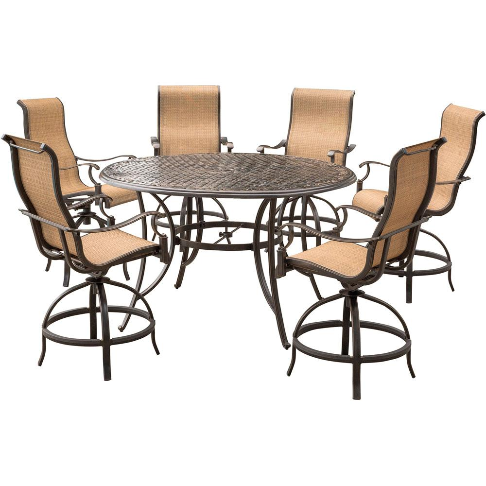 hanover manor 7 piece aluminum round outdoor high dining set with swivels and cast top table. Black Bedroom Furniture Sets. Home Design Ideas