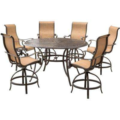 Manor 7-Piece Aluminum Round Outdoor High Dining Set with Swivels and Cast-Top Table