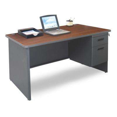 48 in. W x 30 in. D Mahogany Laminate and Dark Neutral  Single Pedestal Desk